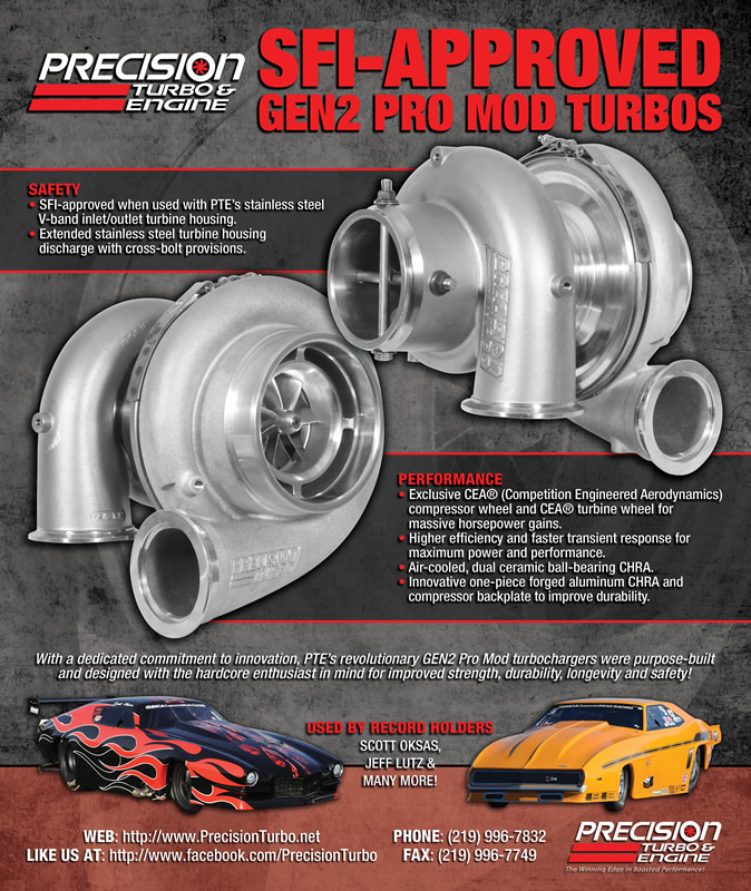 Precision Turbo & Engine: full-page print ad in Race Pages magazine