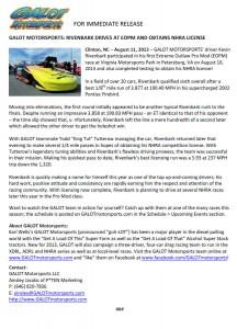 GALOT Motorsports: Rivenbark Drives at EOPM and Obtains NHRA License
