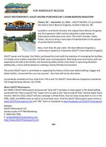 GALOT Motorsports: GALOT Racing Purchases NC's Dunn-Benson Dragstrip